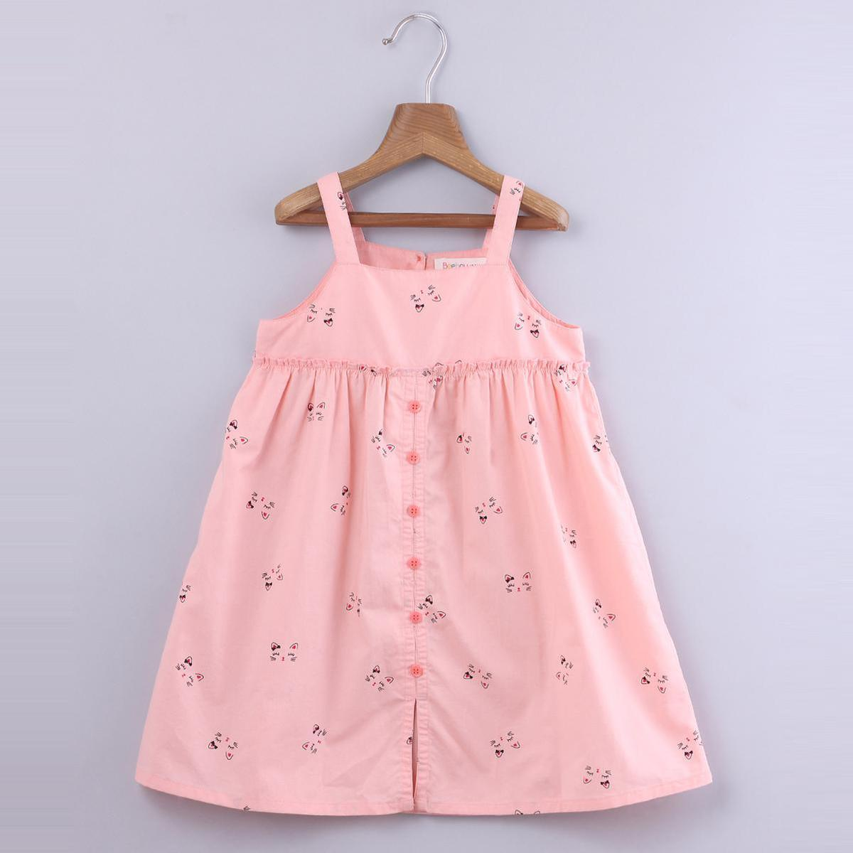 Beebay - Pink Colored Cat Features Printed Cotton Dress For Girls