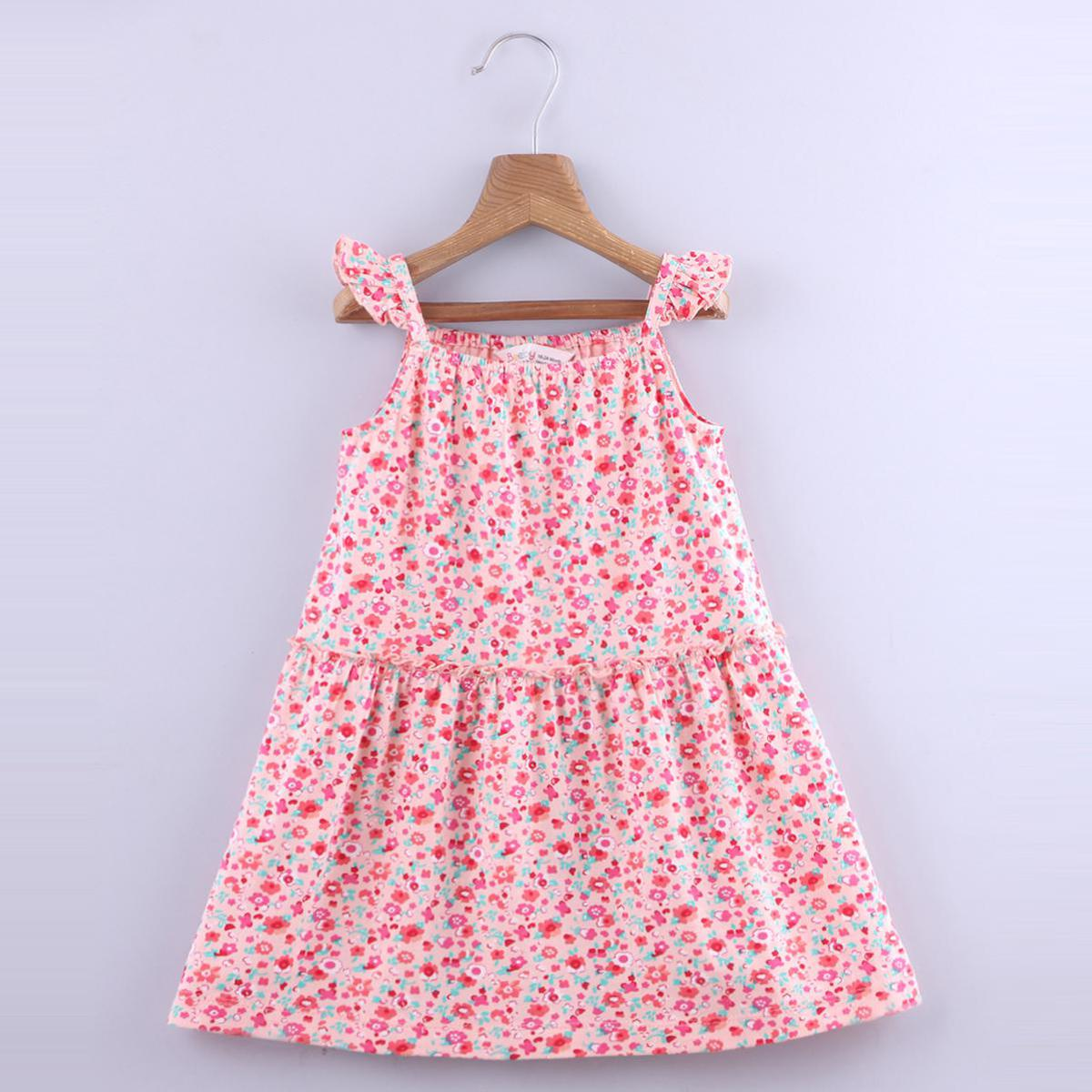 Beebay - Peach Colored Ditsy Floral Jersey Cotton Dress For Girls
