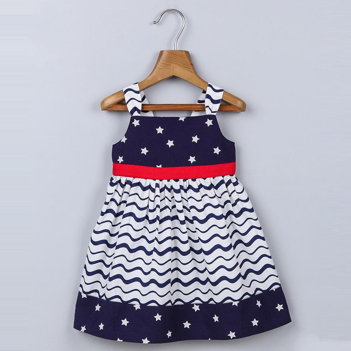 Beebay - Navy Colored Star Print Tier Cotton Dress For Girls