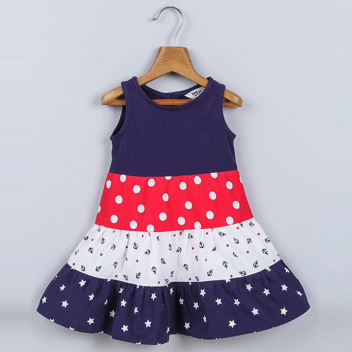 Beebay - Navy Colored Tiered Star & Polka Print Cotton Dress For Girls