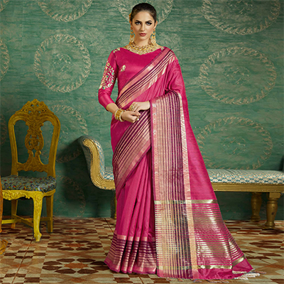 Pink Colored Designer Festive Wear Zoya Silk Saree