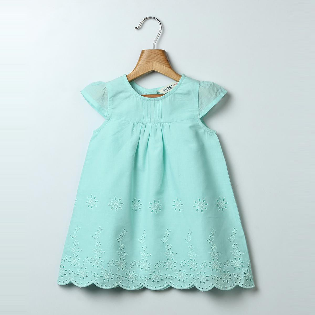 Beebay - Turquoise Colored Turq Schiffli Embroidered Cotton Dress For Girls