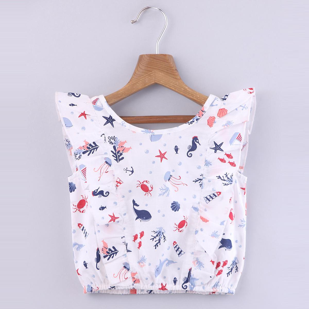 Beebay - Multior Colored Nautical Ruffle Cotton Top For Girls