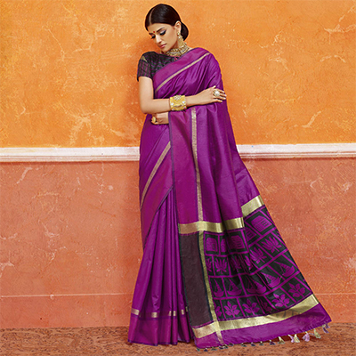 Purple Colored Designer Festive Wear Zoya Silk Saree