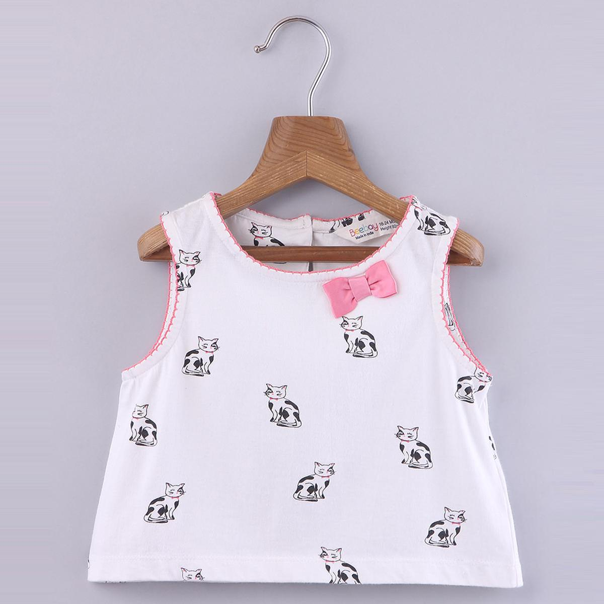 Beebay - White Colored Cat Print Crop Cotton Top For Girls