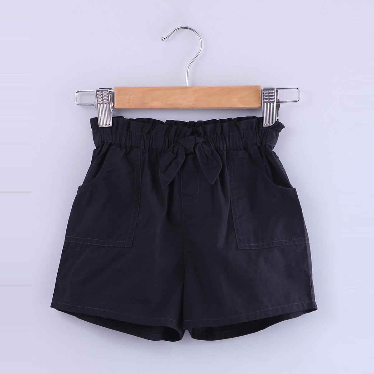 Beebay - Black Colored Paperbags With Bow Cotton Shorts For Girls