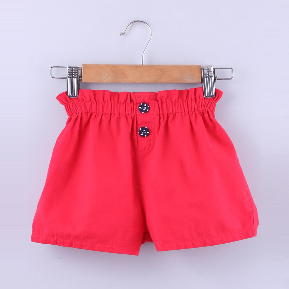 Beebay - Red Colored Nautical Paperbags Cotton Shorts For Girls