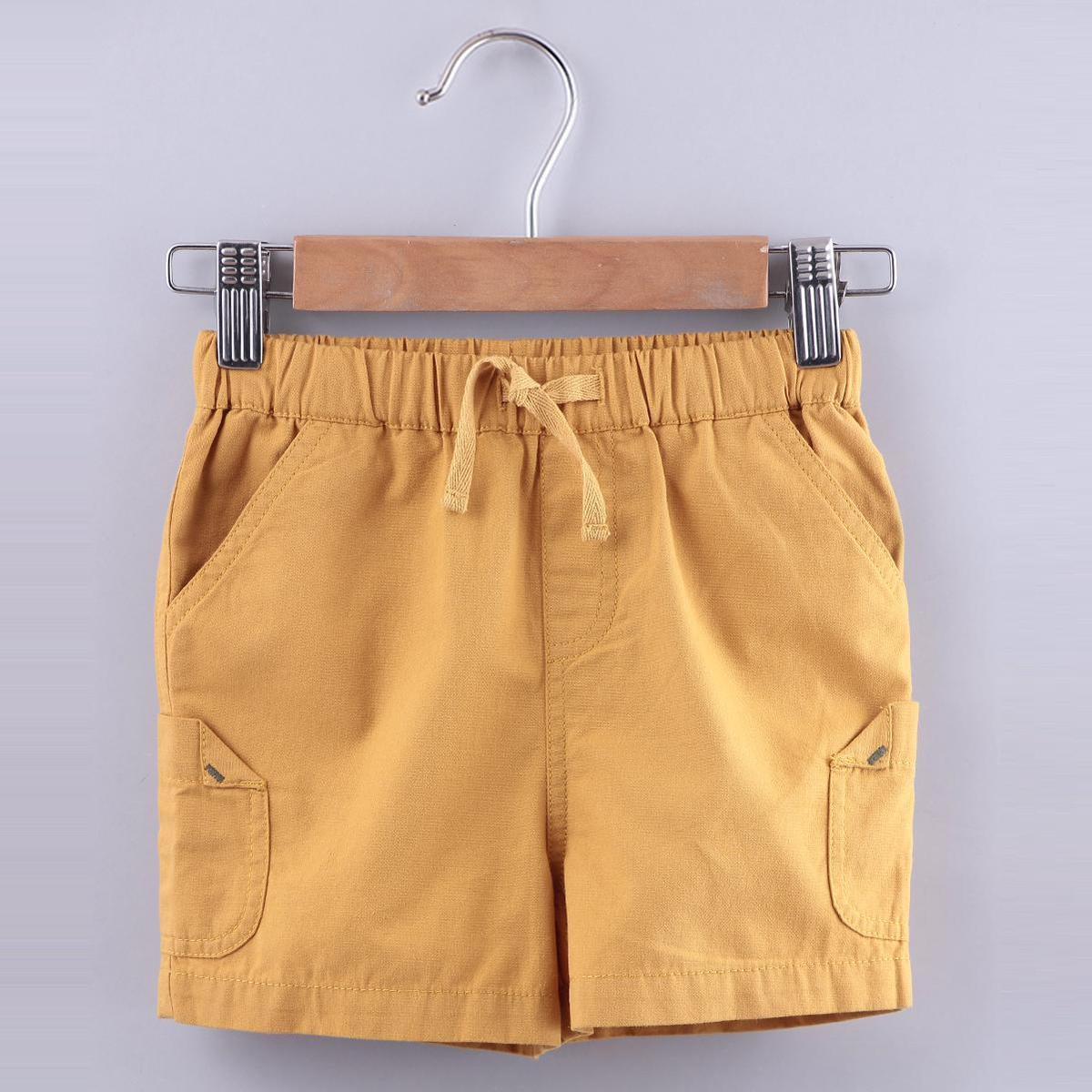 Beebay - Yellow Colored Mustard Pull Ups Cotton Shorts For Boys