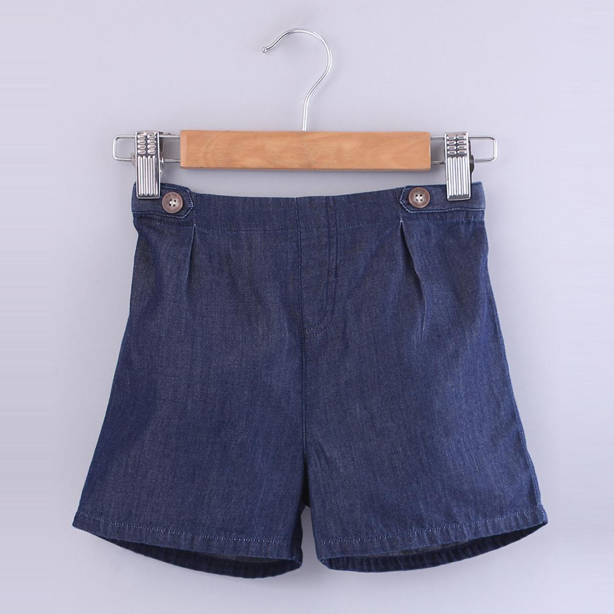 Beebay - Blue Colored Tab Detail Denims Cotton Shorts For Boys