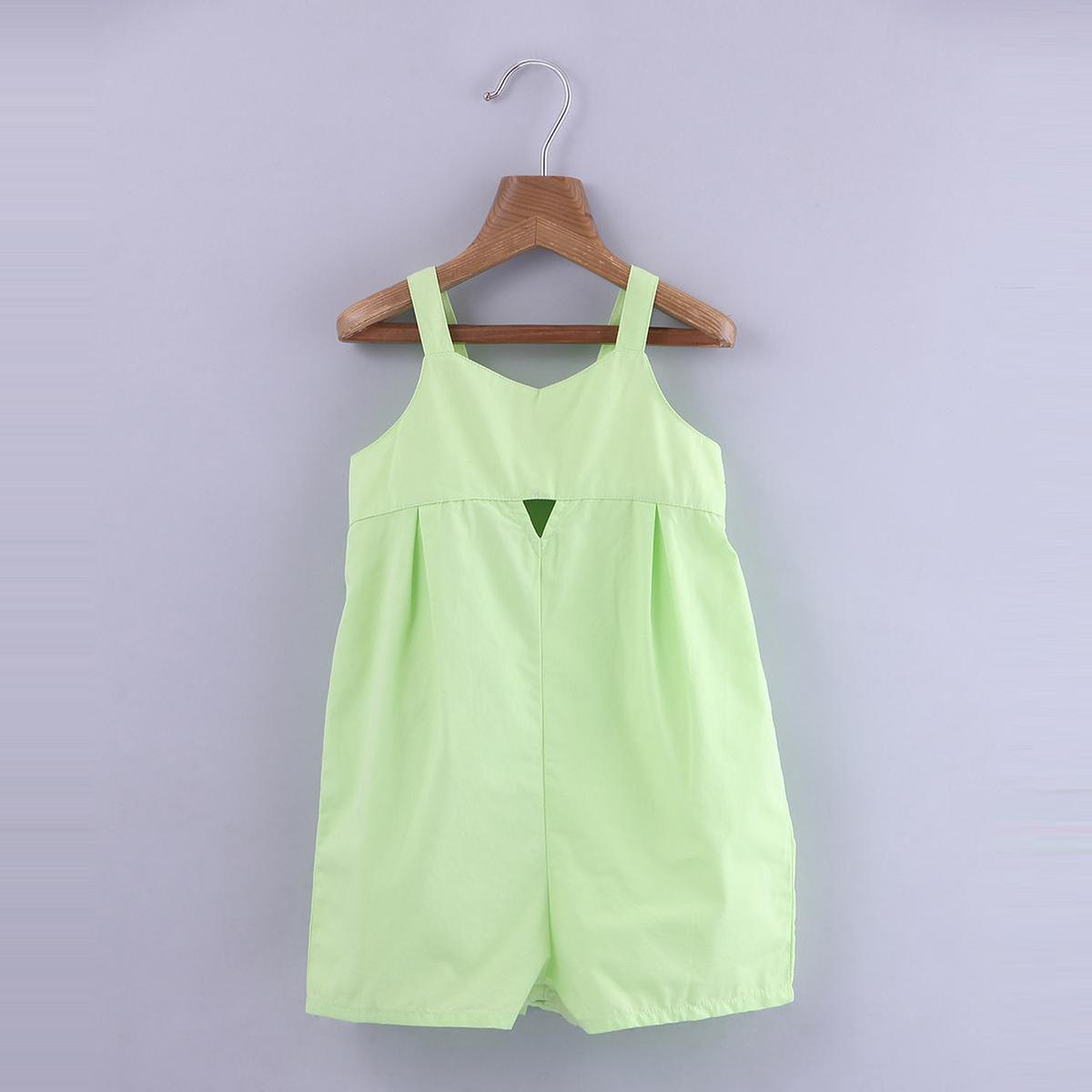 Beebay - Green Colored Cut-Out Detail Cotton Playsuit For Girls