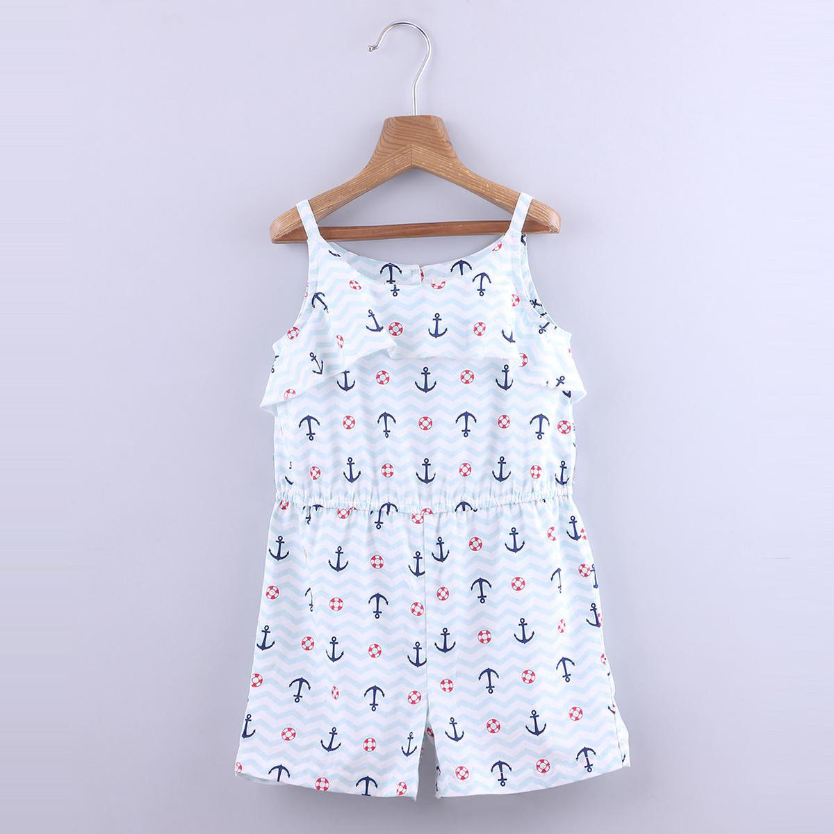 Beebay - Blue Colored Anchor Print Ruffle Cotton Jumpsuit For Girls