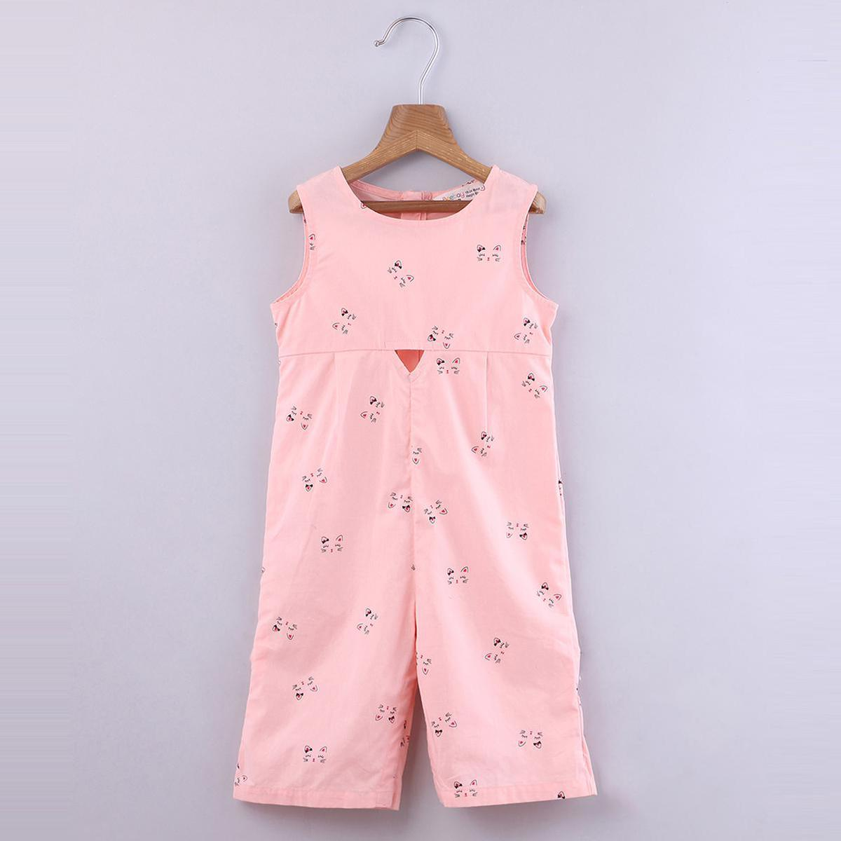 Beebay - Pink Colored Cat Features Printed Cotton Jumpsuit For Girls