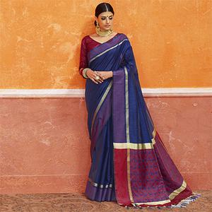 Blue Colored Designer Festive Wear Zoya Silk Saree