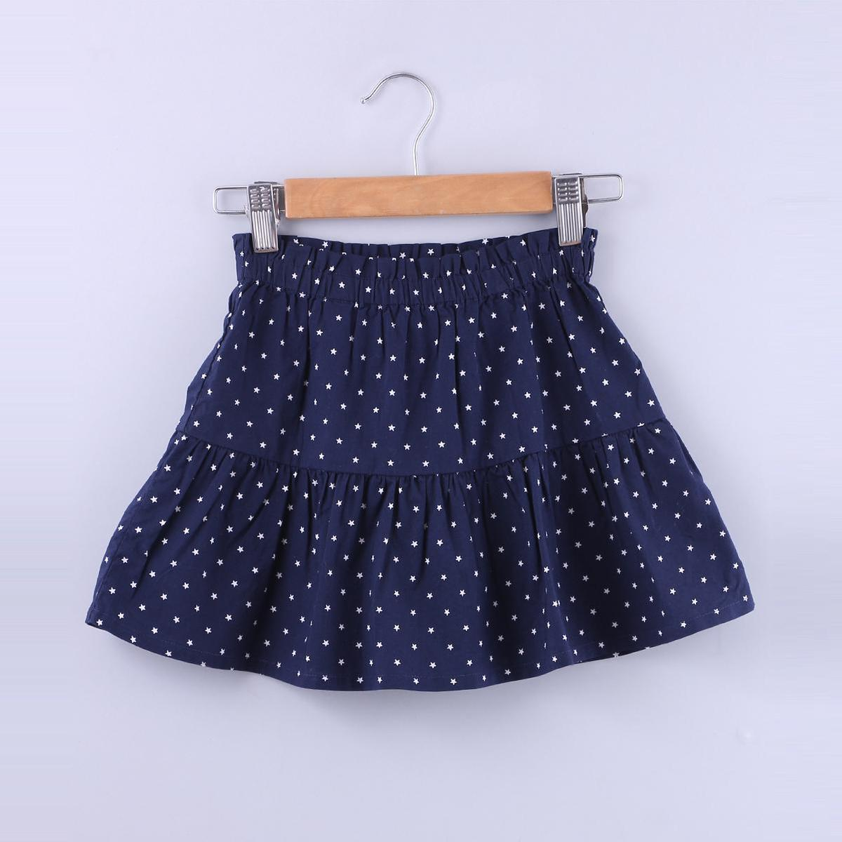 Beebay - Navy Colored Star Print Paperbag Cotton Skirt For Girls