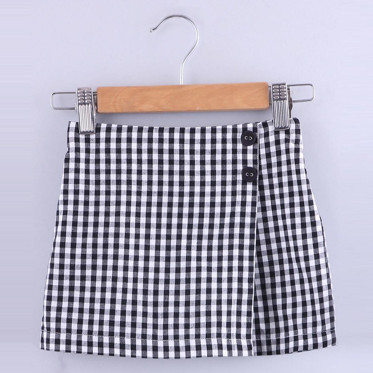 Beebay - Black Colored Gingham Check Cotton Skirt For Girls