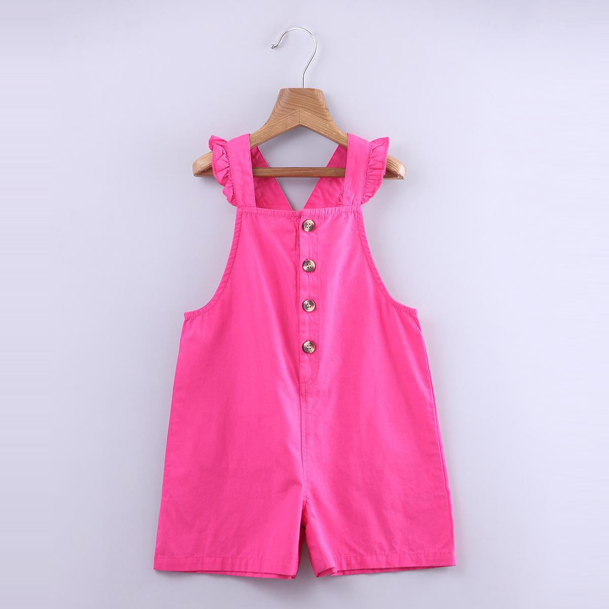 Beebay - Pink Colored Ruffle Straps Cotton Dungree For Girls