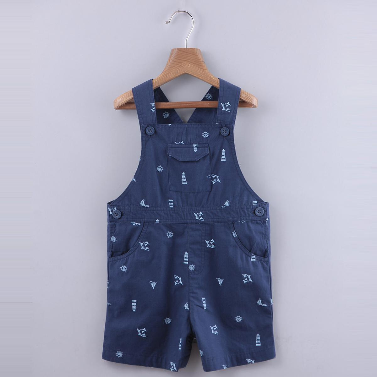 Beebay - Navy Colored Shark Print Cotton Dungree For Boys