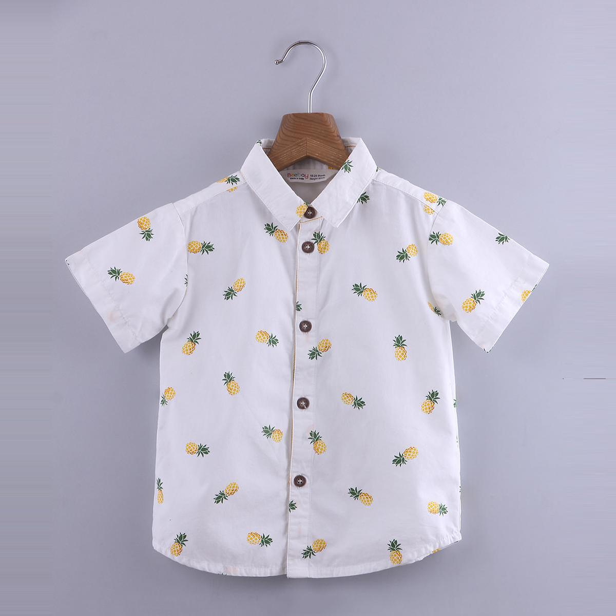 Beebay - White Colored Pineapple Print Cotton Shirt For Boys