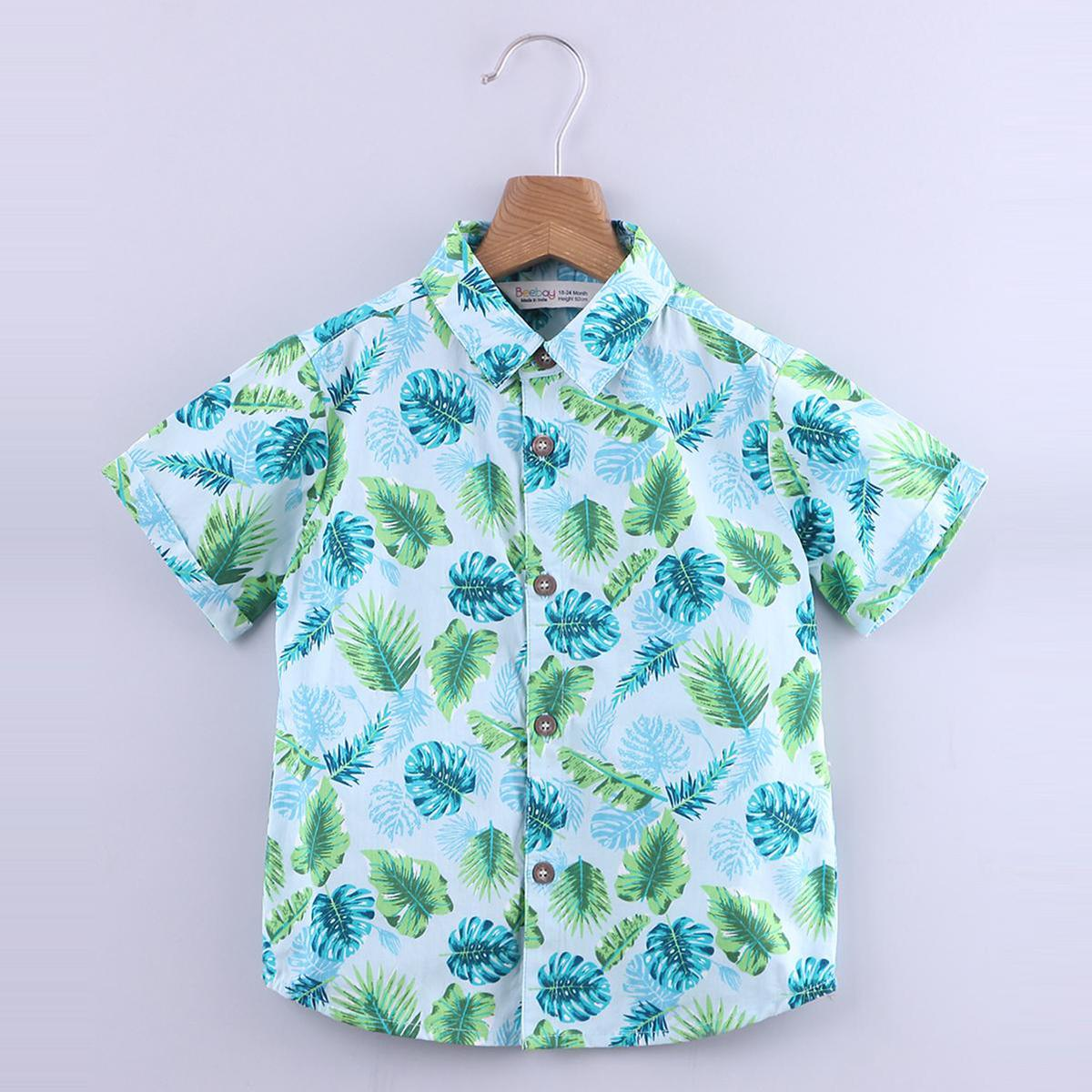Beebay - Blue Colored Tropical Print Cotton Shirt For Boys