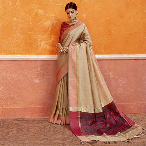 Beige Colored Designer Festive Wear Zoya Silk Saree