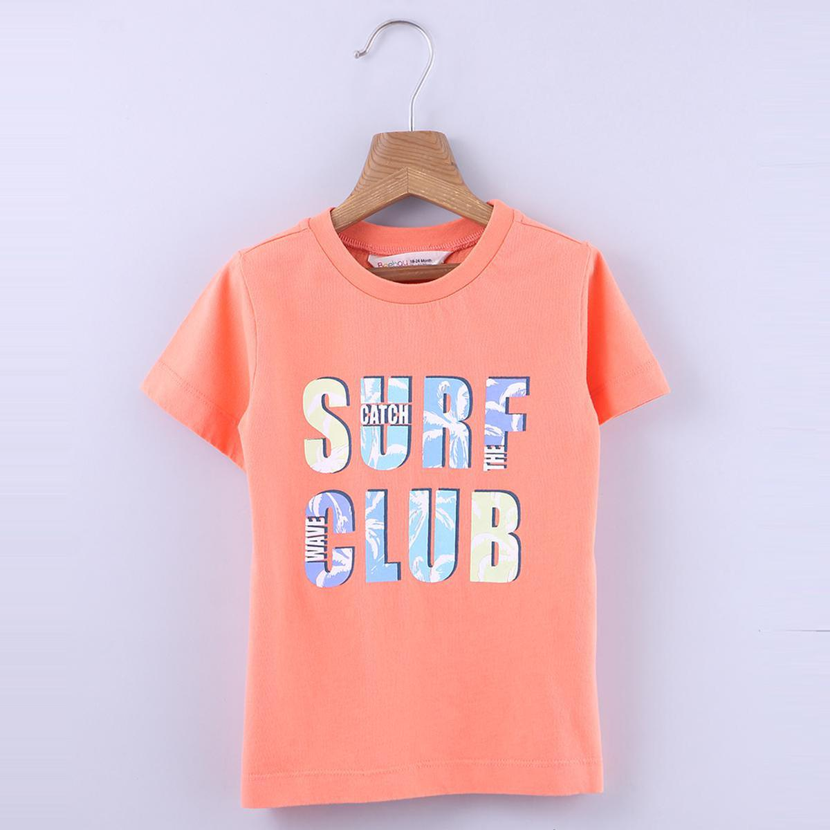 Beebay - Orange Colored Surf Club Graphic Cotton T-shirt For Boys