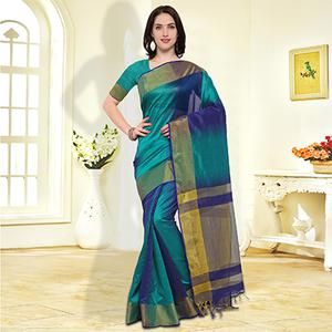 Green-Blue Colored Festive Wear Cotton Silk Saree