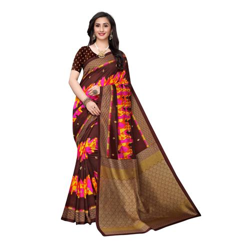 Adorning Brown Colored Casual Wear Ikat Printed Art Silk Saree