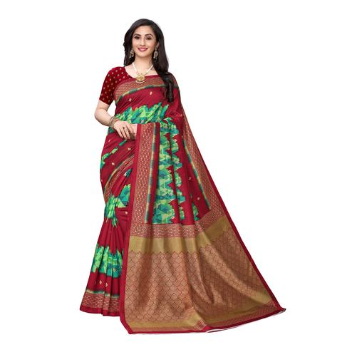 Entrancing Maroon Colored Casual Wear Ikat Printed Art Silk Saree