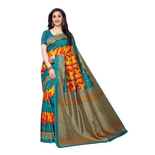 Capricious Blue Colored Casual Wear Ikat Printed Art Silk Saree