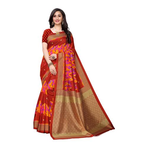 Classy Red Colored Casual Wear Ikat Printed Art Silk Saree