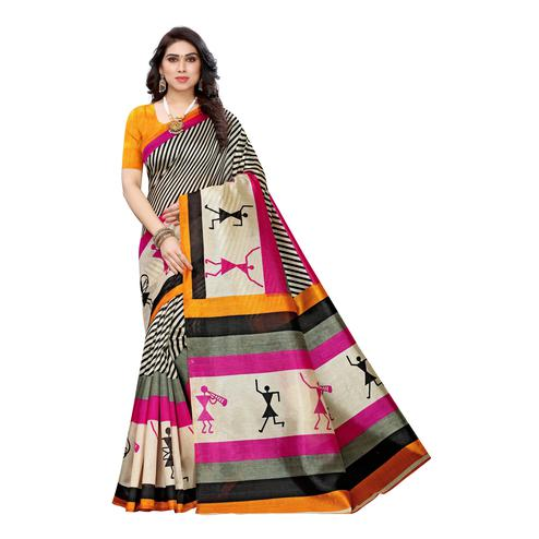 Flirty Multi-Yellow Colored Casual Wear Stripe Printed Art Silk Saree