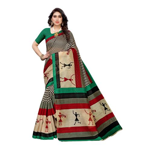 Stunning Multi-Green Colored Casual Wear Stripe Printed Art Silk Saree