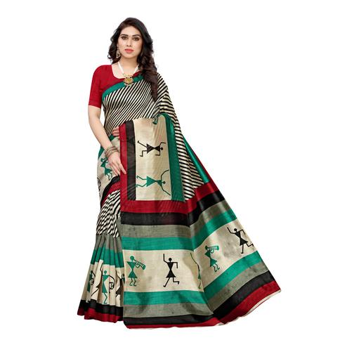 Sensational Multi-Red Colored Casual Wear Stripe Printed Art Silk Saree