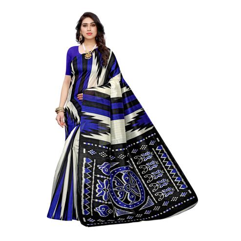 Alluring White-Blue Colored Casual Wear Stripe Printed Art Silk Saree
