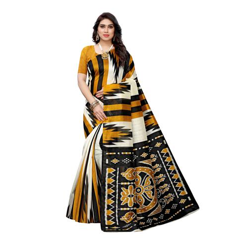 Flamboyant White-Yellow Colored Casual Wear Stripe Printed Art Silk Saree