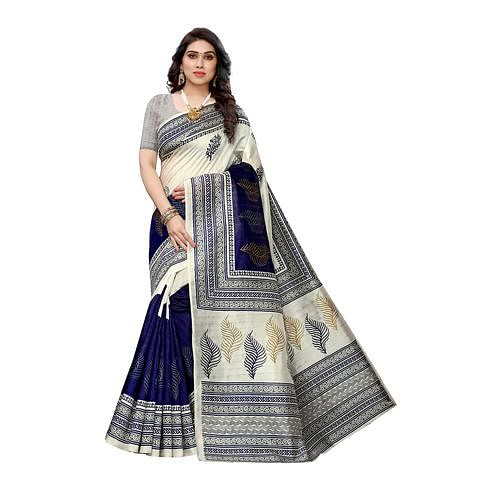 Marvellous White-Blue Colored Casual Wear Printed Art Silk Saree