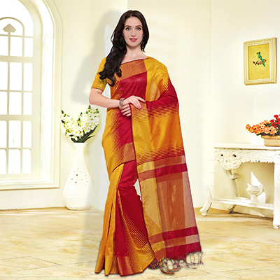 Yellow-Red Colored Festive Wear Cotton Silk Saree