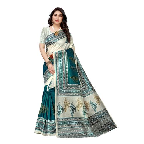 Excellent White-Turquoise Colored Casual Wear Printed Art Silk Saree