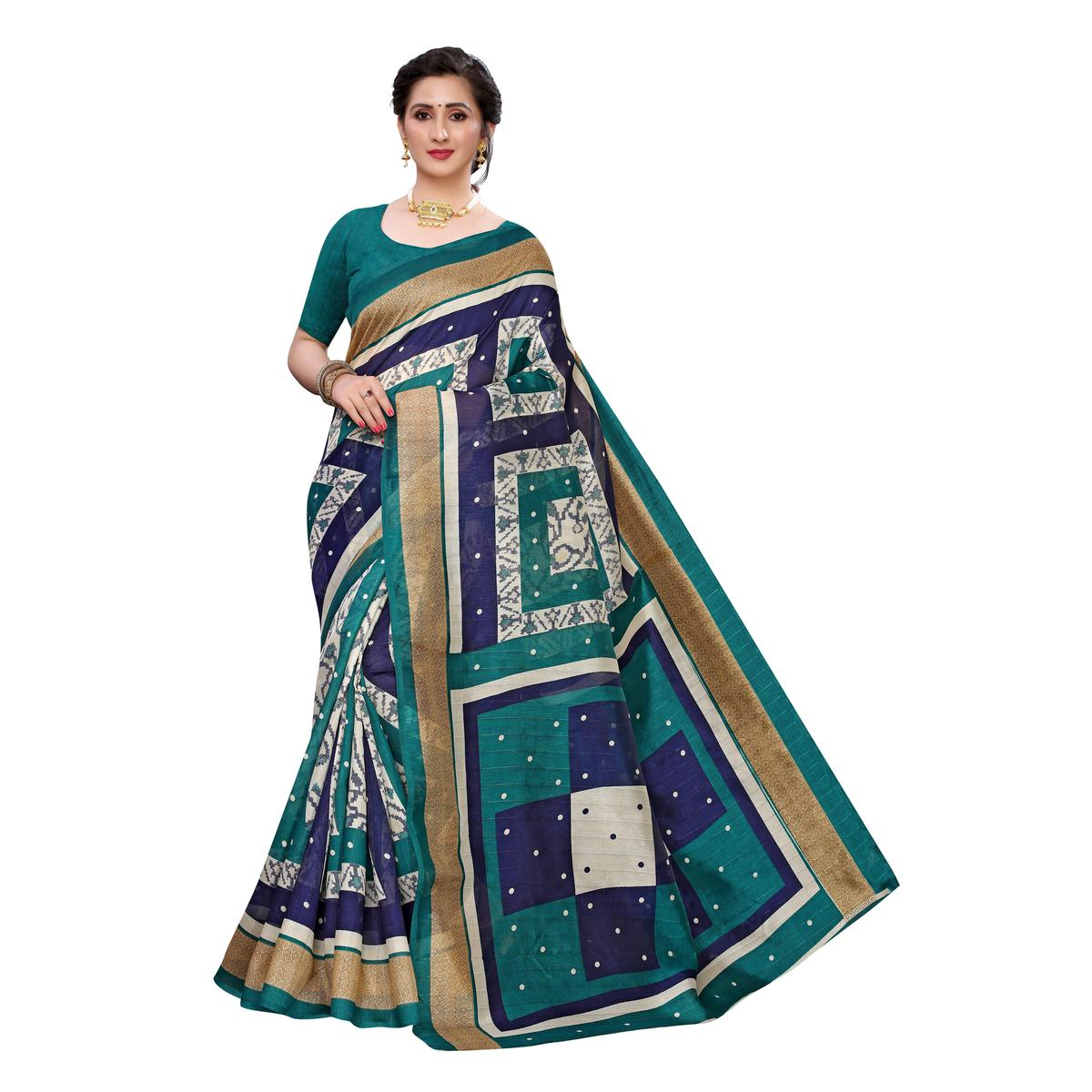 Gleaming Off White-Turquoise Colored Casual Wear Geometric Printed Art Silk Saree