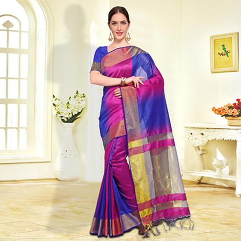 Pink-Blue Colored Festive Wear Cotton Silk Saree