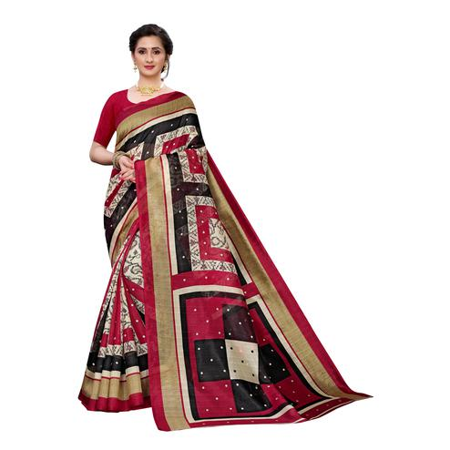 Exceptional Off White-Pink Colored Casual Wear Geometric Printed Art Silk Saree