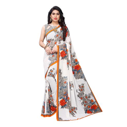 Elegant White Colored Casual Wear Floral Printed Georgette Saree