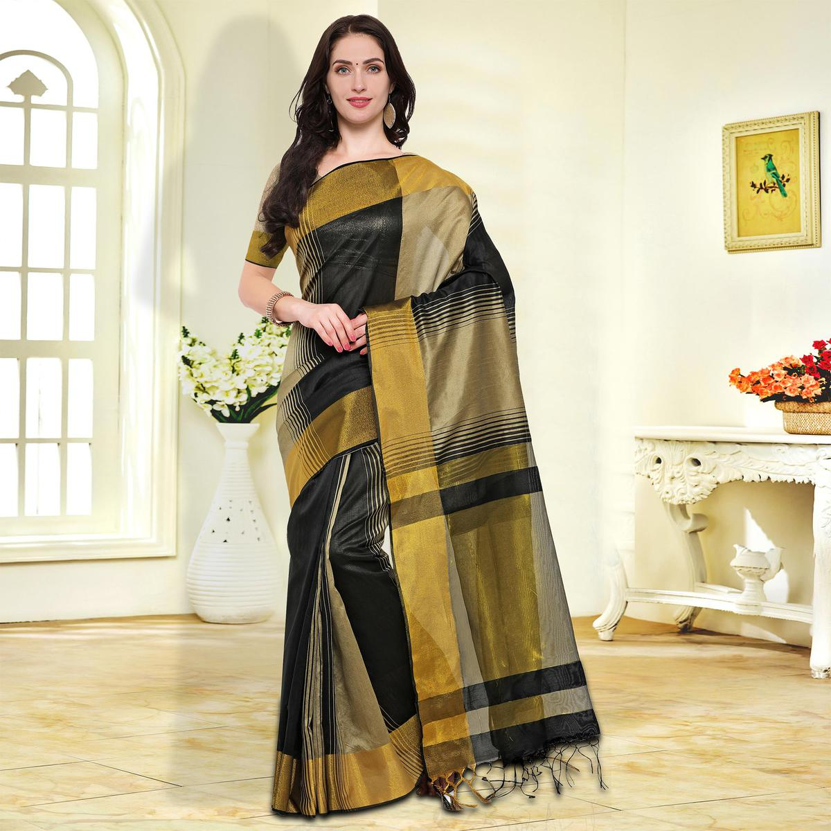 Black-Beige Colored Festive Wear Cotton Silk Saree
