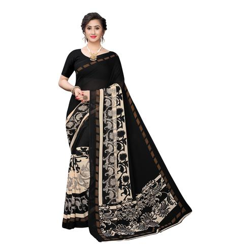 Desirable Black Colored Casual Wear Printed Georgette Saree