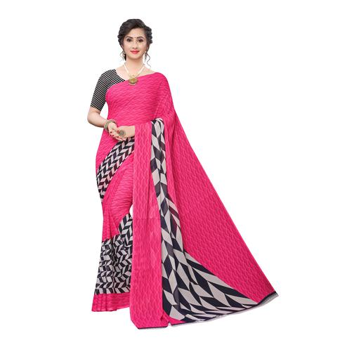 Staring Pink Colored Casual Wear Geometric Printed Georgette Saree