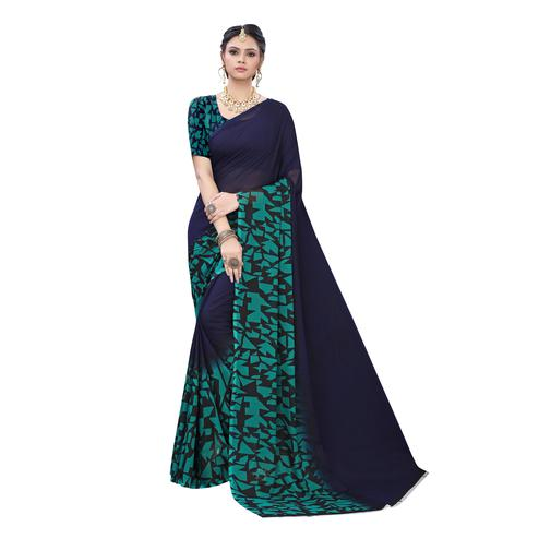 Breathtaking Navy Blue Colored Casual Wear Geometric Printed Georgette Saree