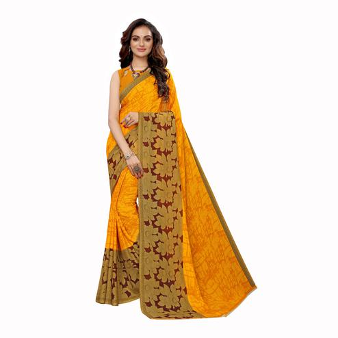 Pleasance Yellow Colored Casual Wear Printed Georgette Saree