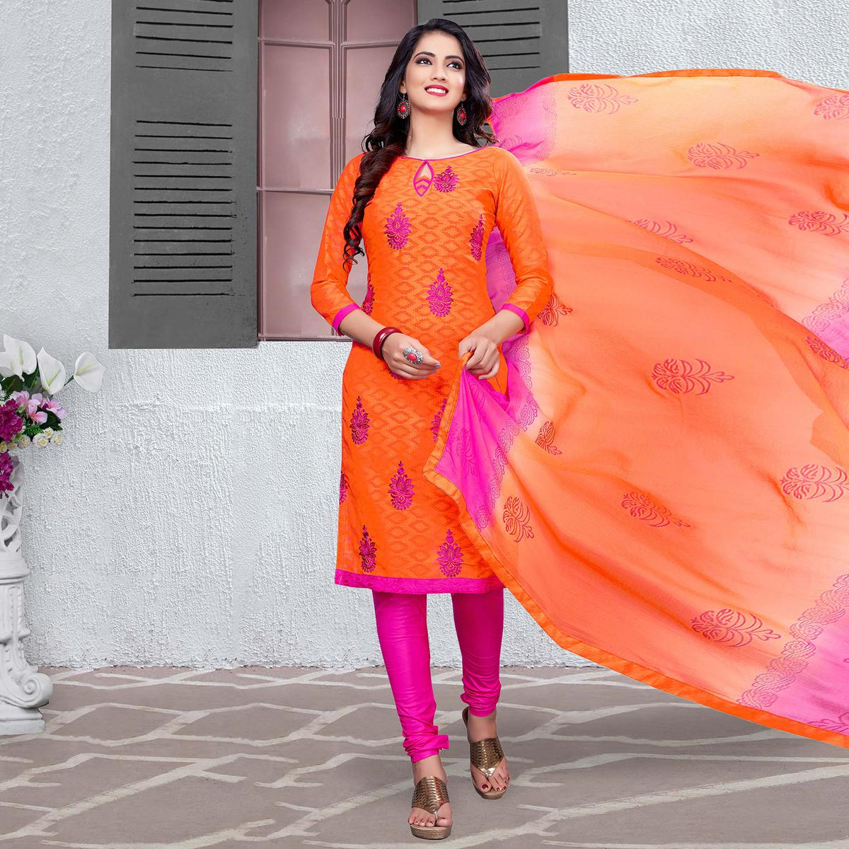 Flamboyant Orange-Pink Colored Embroidered Cotton Jacquard Dress Material