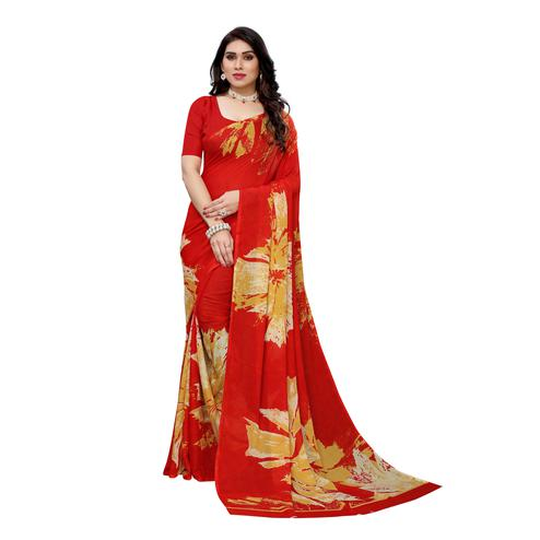 Majesty Red Colored Casual Wear Printed Georgette Saree