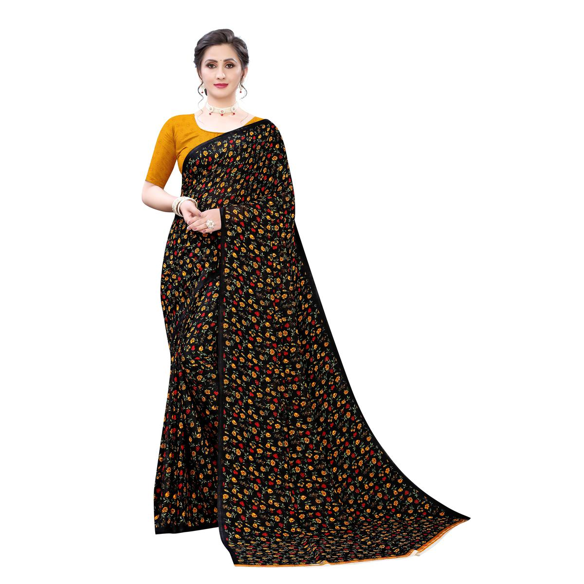 Fantastic Black-Yellow Colored Casual Wear Floral Printed Georgette Saree